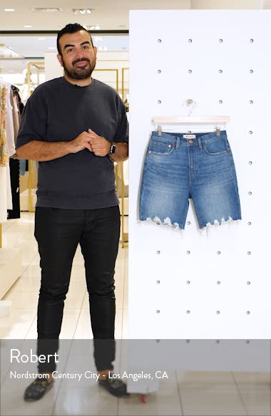 High Waist Mid Length Denim Shorts, sales video thumbnail