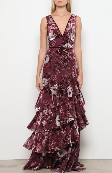 Floral Tiered Velvet Gown, video thumbnail