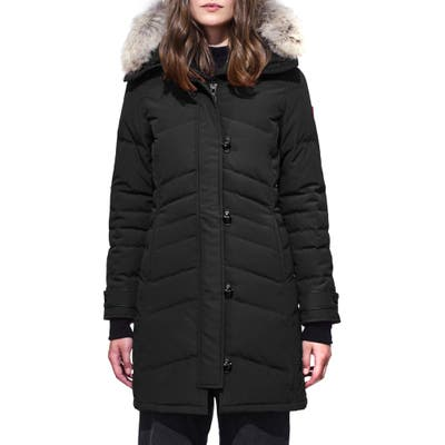 Canada Goose Lorette Fusion Fit Hooded Down Parka With Genuine Coyote Fur Trim, P (10-12P) - Black