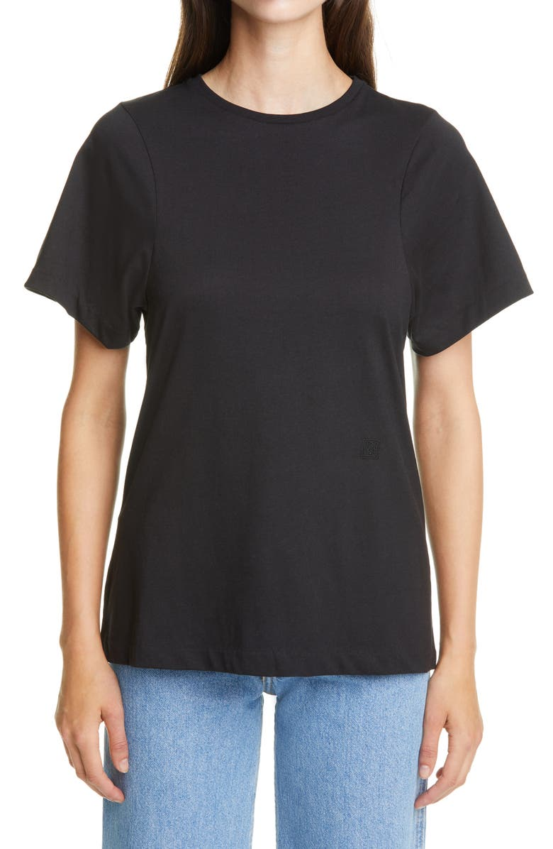 TOTÊME Espera Organic Cotton T-Shirt, Main, color, BLACK