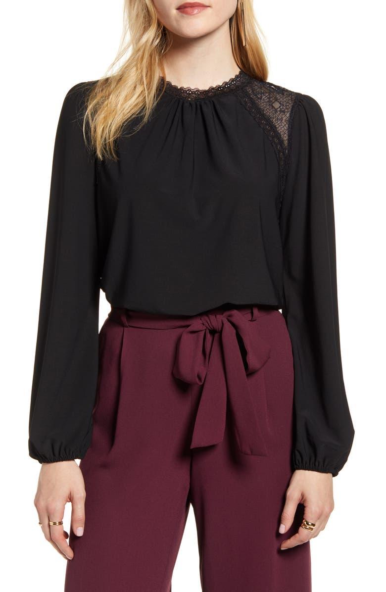 HALOGEN<SUP>®</SUP> Lace Yoke Knit Top, Main, color, BLACK