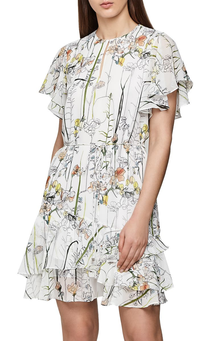 Juno Watercolor Floral Print Dress by Reiss
