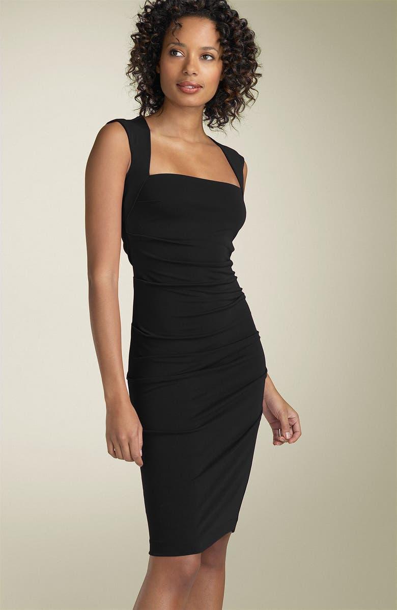 NICOLE MILLER Open Back Jersey Sheath Dress, Main, color, 001