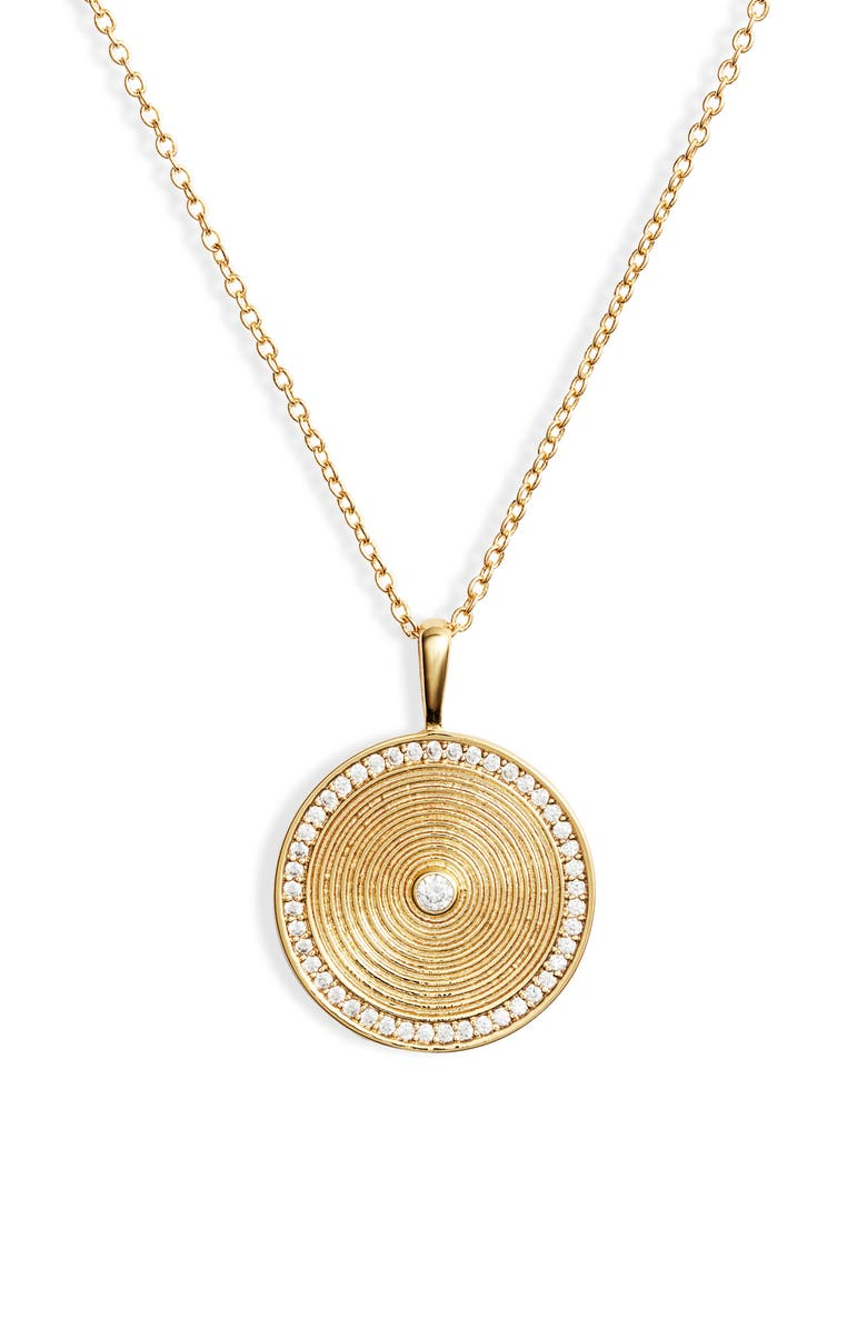 Shimmer Coin Pendant Necklace, Main, color, GOLD/ WHITE