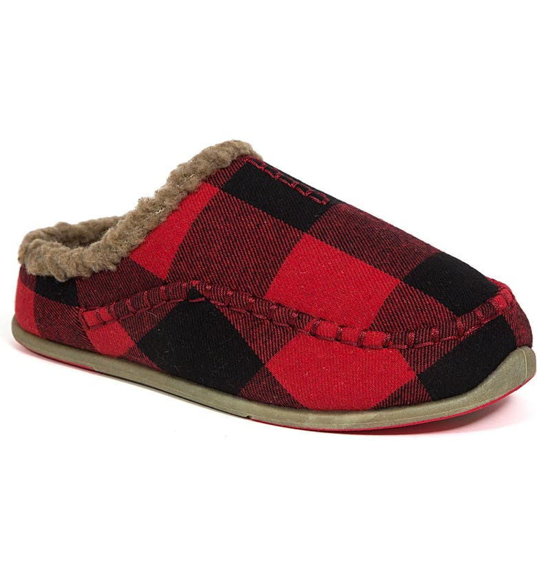 DEER STAGS Slipperooz Lil' Nordic Faux Shearling Lined Plaid Slipper, Main, color, RED/BLACK
