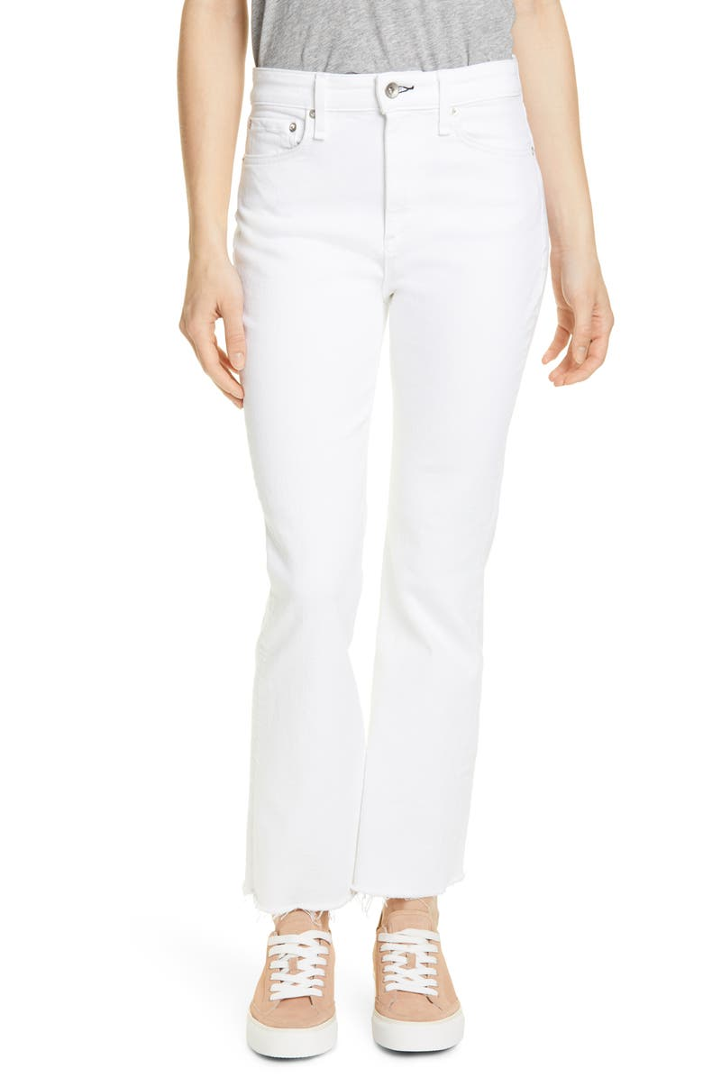 RAG & BONE Hana High Waist Ankle Flare Jeans, Main, color, WHITE