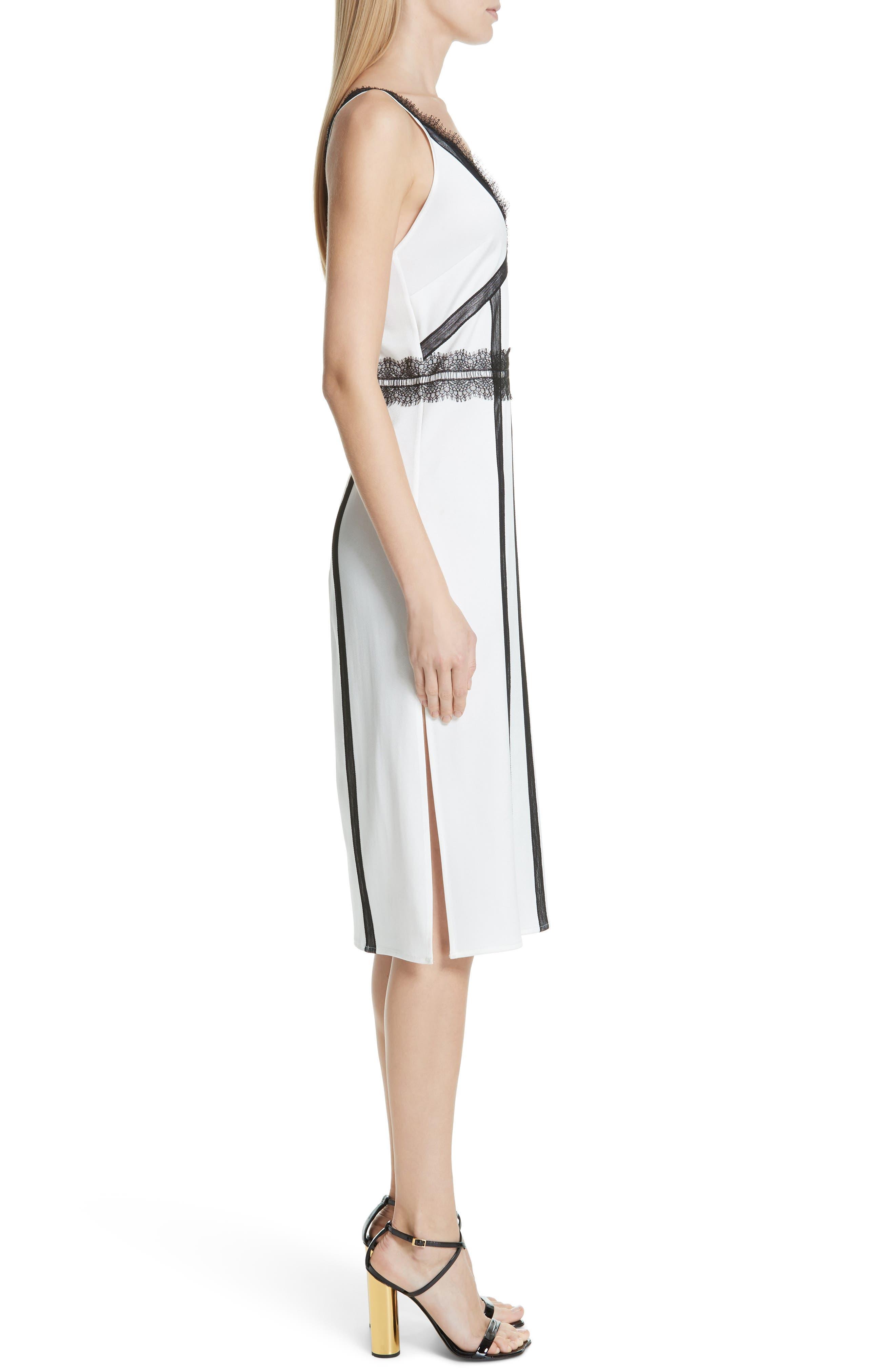 ,                             Crepe Back Satin Dress,                             Alternate thumbnail 4, color,                             COCONUT WHITE