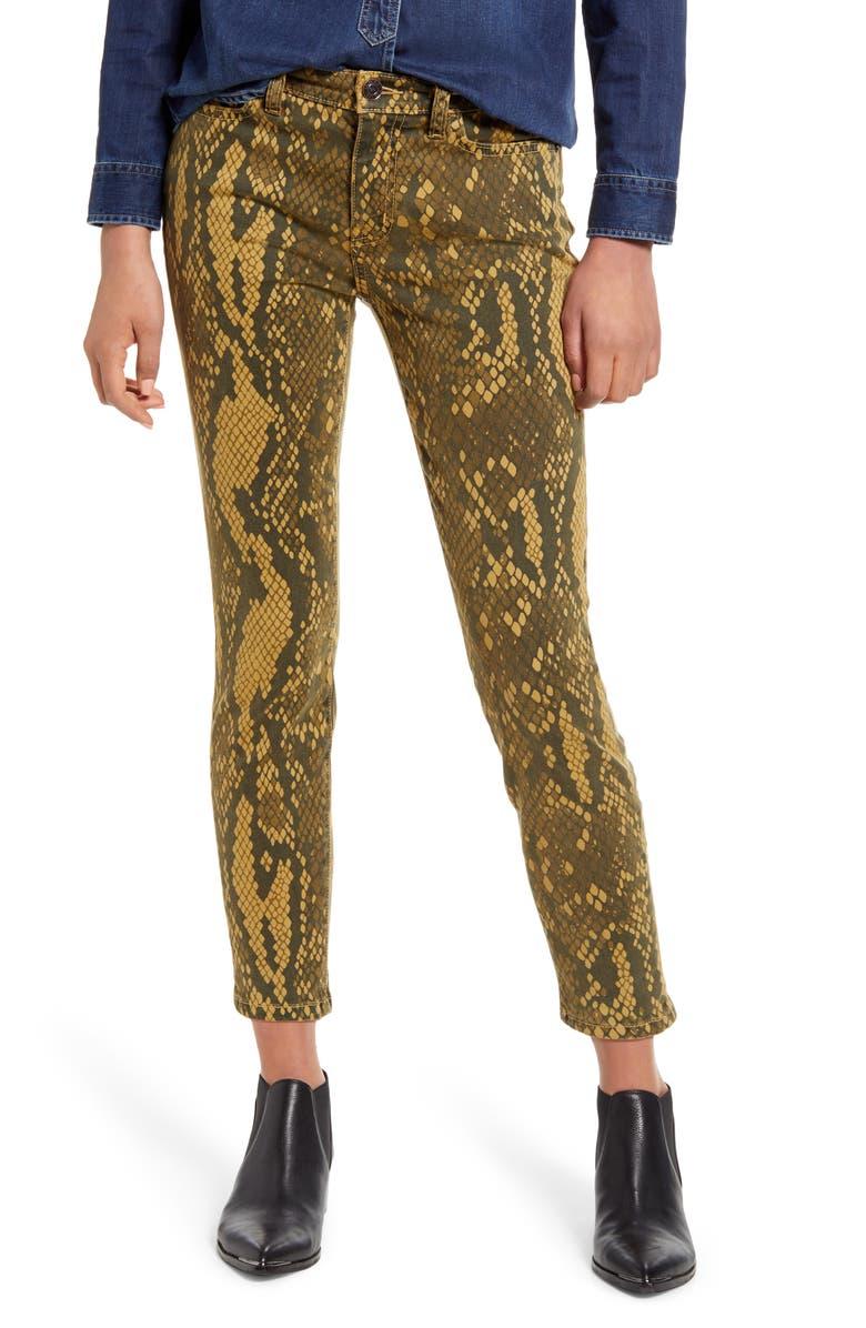 CURRENT/ELLIOTT The Stiletto Ankle Skinny Jeans, Main, color, LIGHT BURME PYTHON