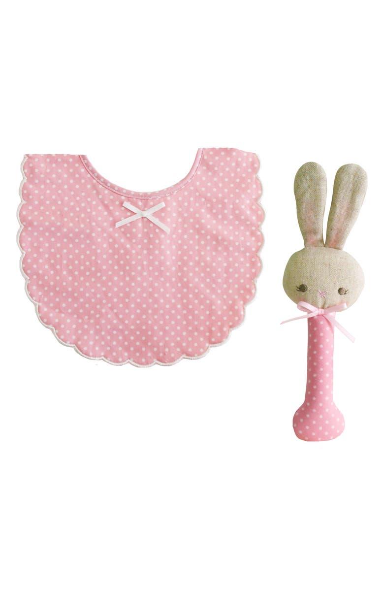 ALIMROSE Bunny Rattle & Bib Set, Main, color, 650