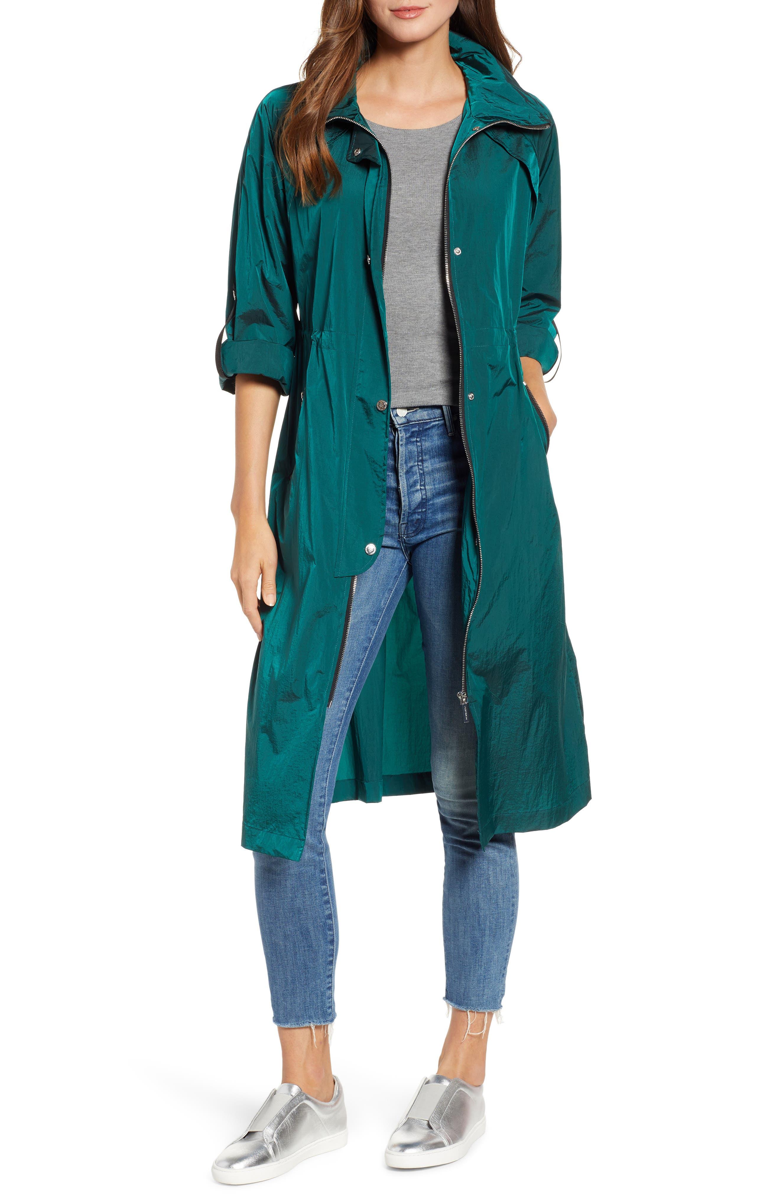 Crinkle Nylon Long Hooded Parka, Main, color, GREEN