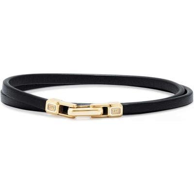 David Yurman Streamline Double Wrap Leather Bracelet With 18K Gold