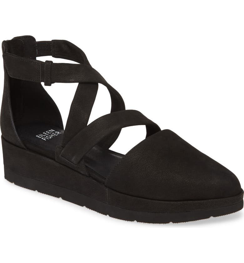 EILEEN FISHER Bovery Strappy Platform Wedge, Main, color, BLACK NUBUCK LEATHER