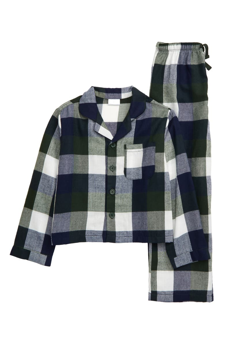 NORDSTROM Flannel Pajamas, Main, color, NAVY PEACOAT CHECK