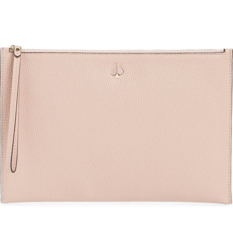 KATE SPADE NEW YORK large polly leather wristlet, Main, color, FLAPPER PINK