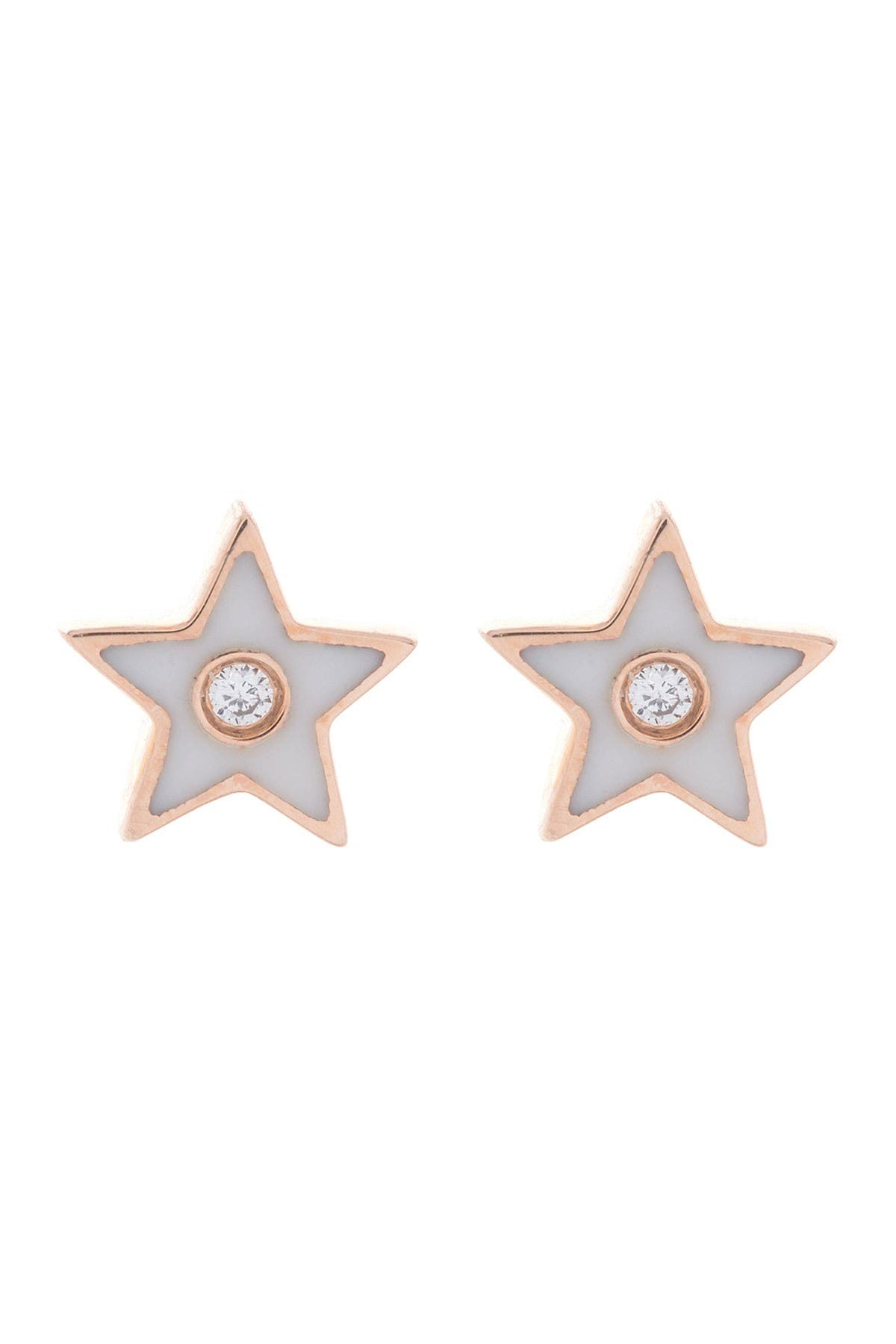 Image of EF Collection 14K Rose Gold Bezel Set Diamond & Enamel Star Stud Earrings - 0.01 ctw