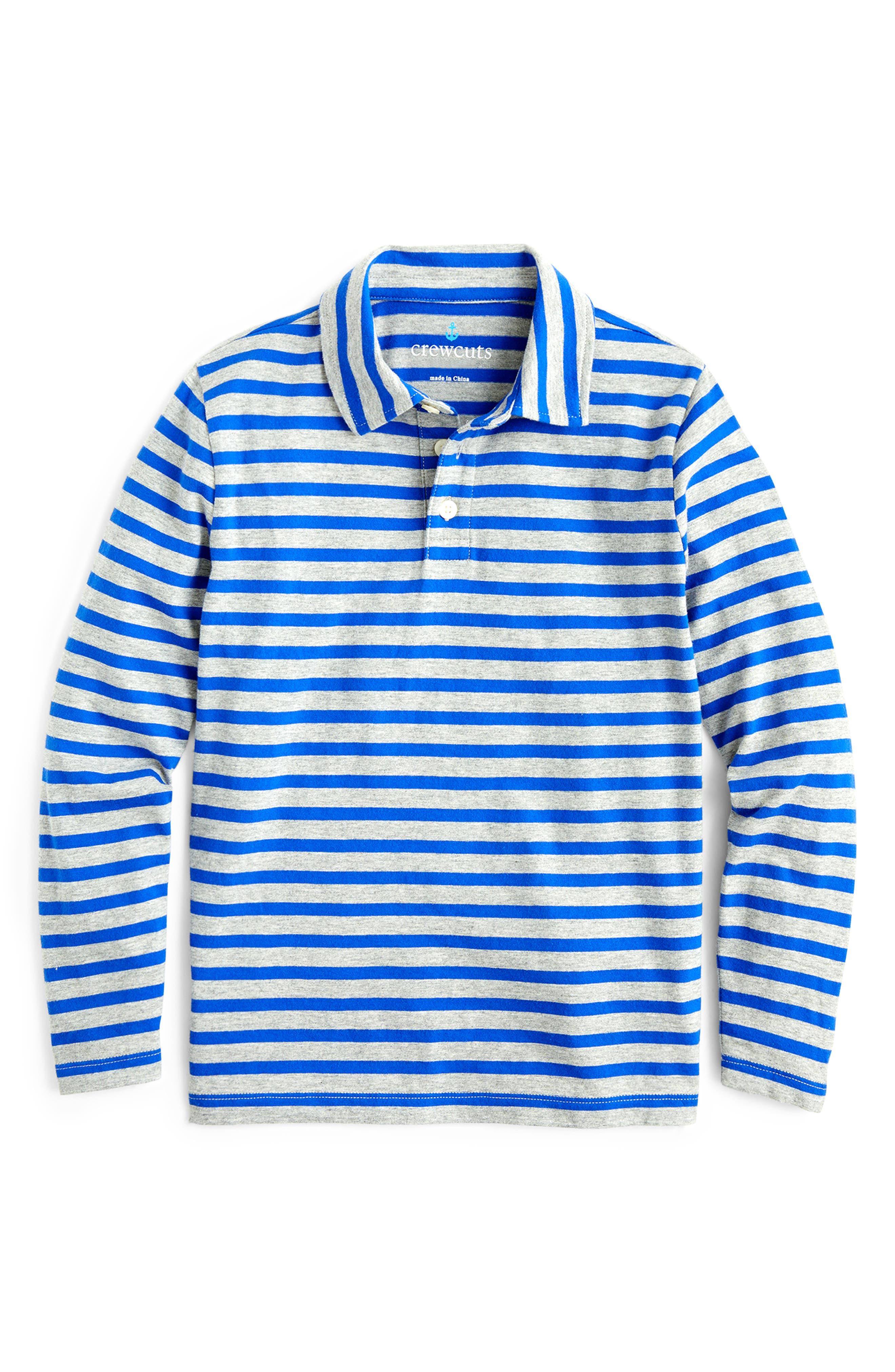 Boys Crewcuts By Jcrew Long Sleeve Stripe Polo Size 14  Blue