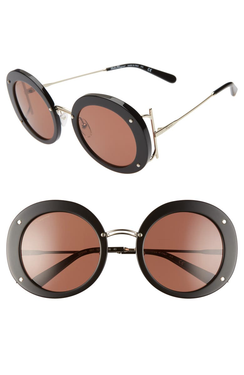 SALVATORE FERRAGAMO 52mm Gancio Round Sunglasses, Main, color, BLACK