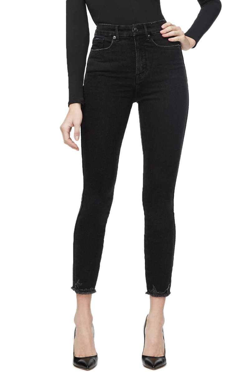 GOOD AMERICAN Good Curve High Waist Crop Skinny Jeans, Main, color, BLACK054
