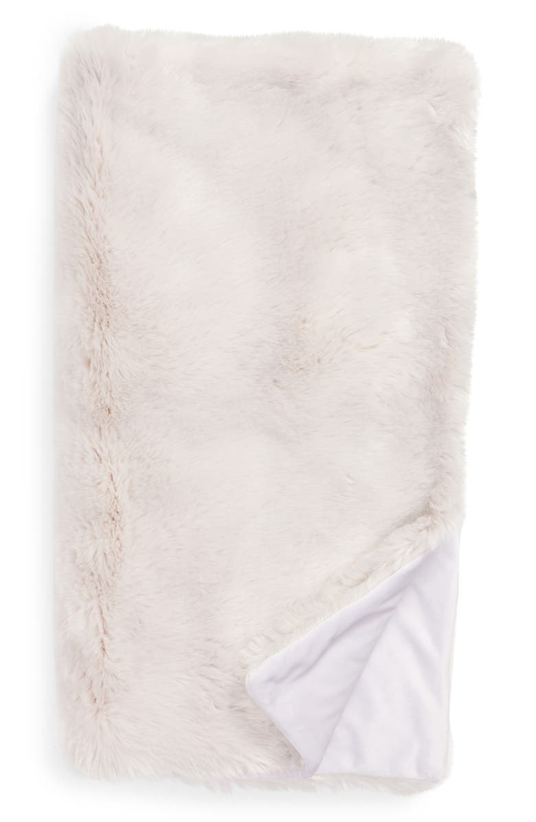 NORDSTROM AT HOME Cuddle Up Faux Fur Throw Blanket, Main, color, GREY FOG