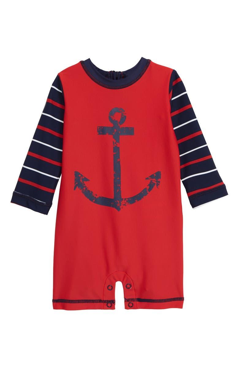 HATLEY Nautical Anchor One-Piece Rashguard Swimsuit, Main, color, RED