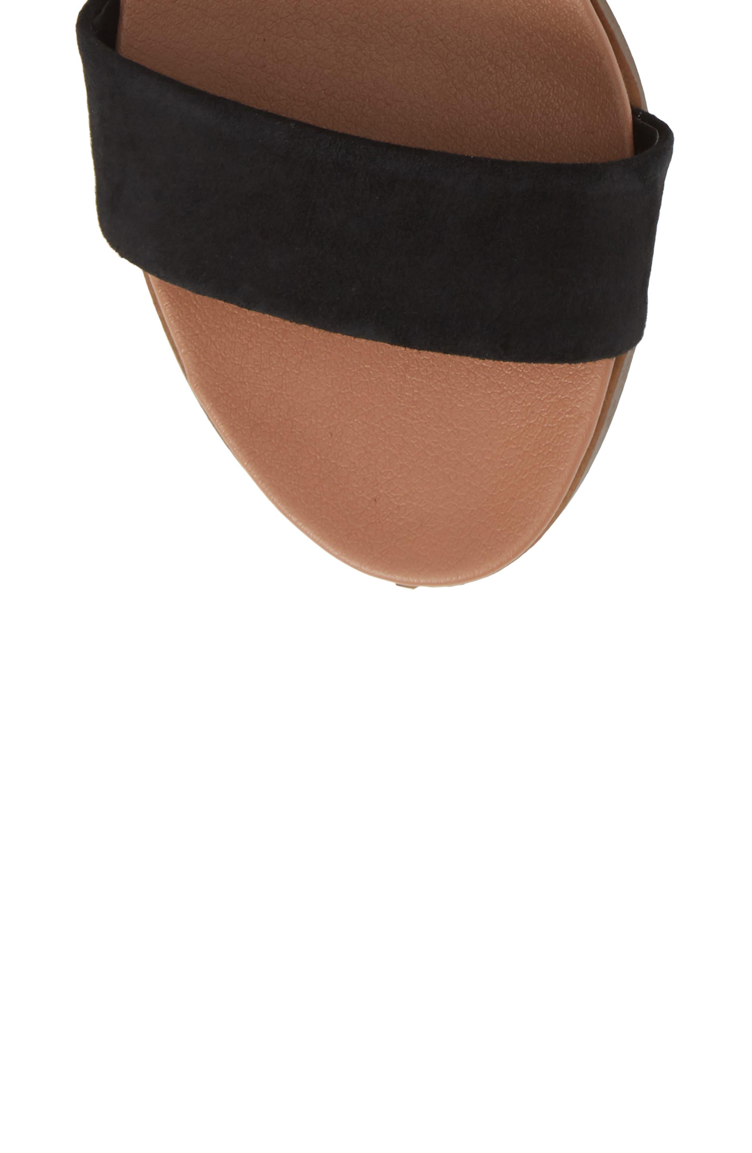 ,                             Adrianne Ankle Wrap Sandal,                             Alternate thumbnail 5, color,                             BLACK SUEDE