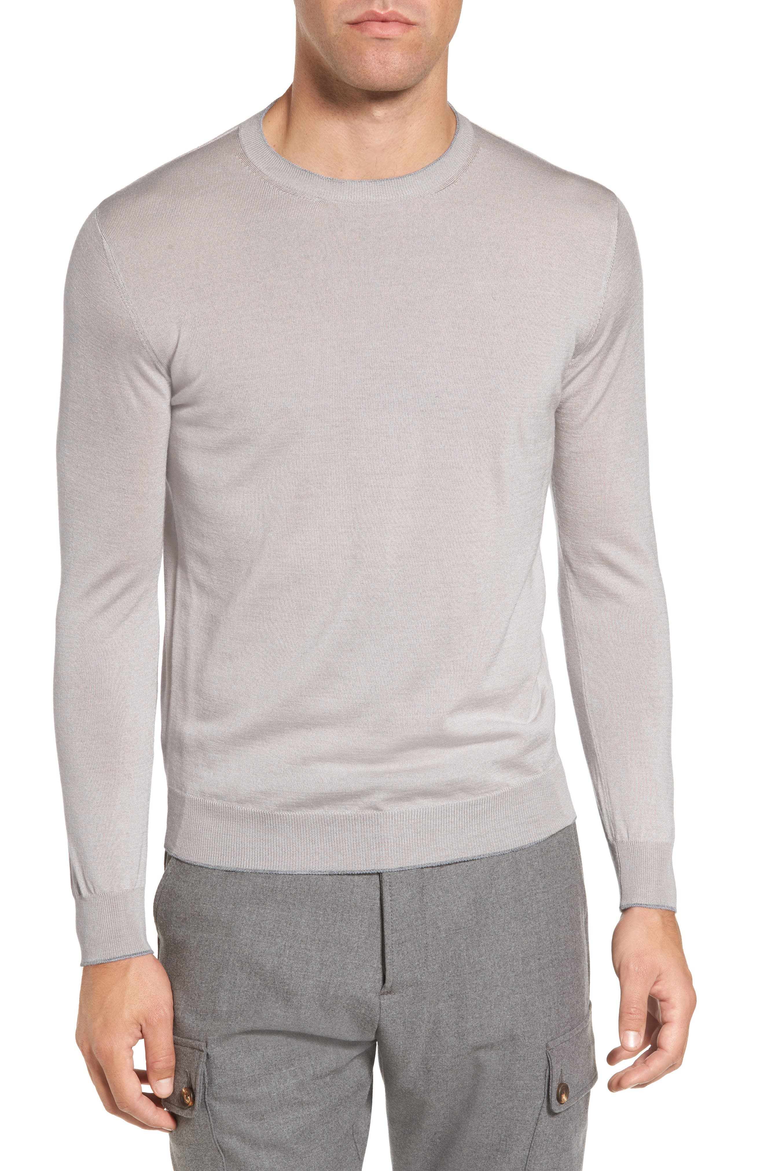 Tipped with subtle contrast, a crewneck sweater in a slim-fitting profile feels ultraluxurious in a fine Italian knit of wool and silk. Style Name: Eleventy Merino Wool & Silk Tipped Sweater. Style Number: 5457758. Available in stores.