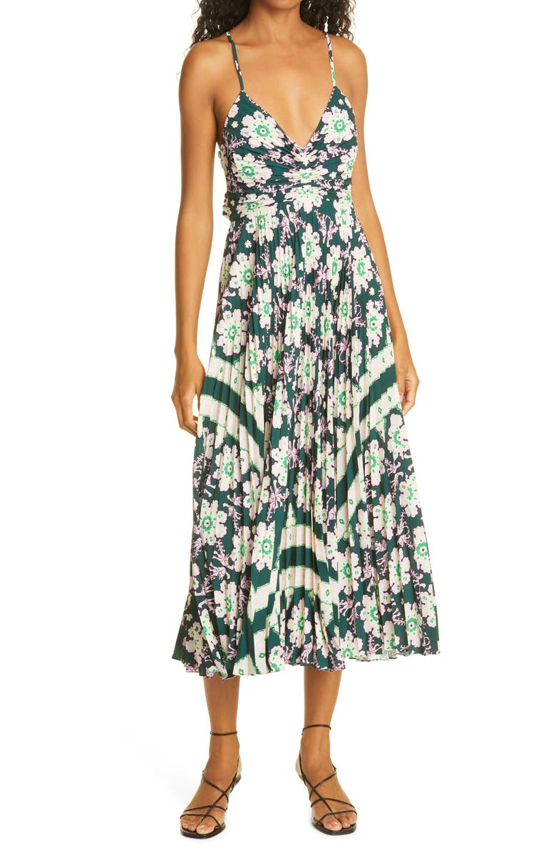 A.L.C. Gemini Print Pleated Dress, Main, color, GREEN/ PINK