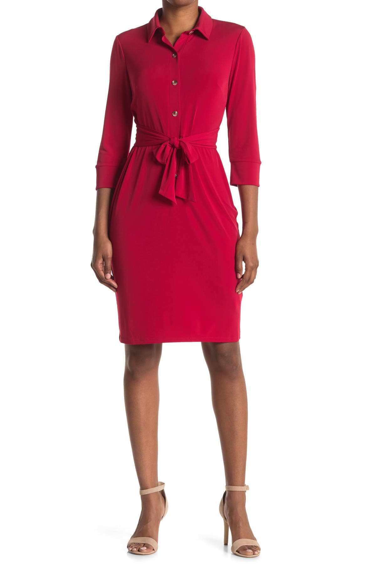 Image of Maggy London Tie Waist Shirt Dress
