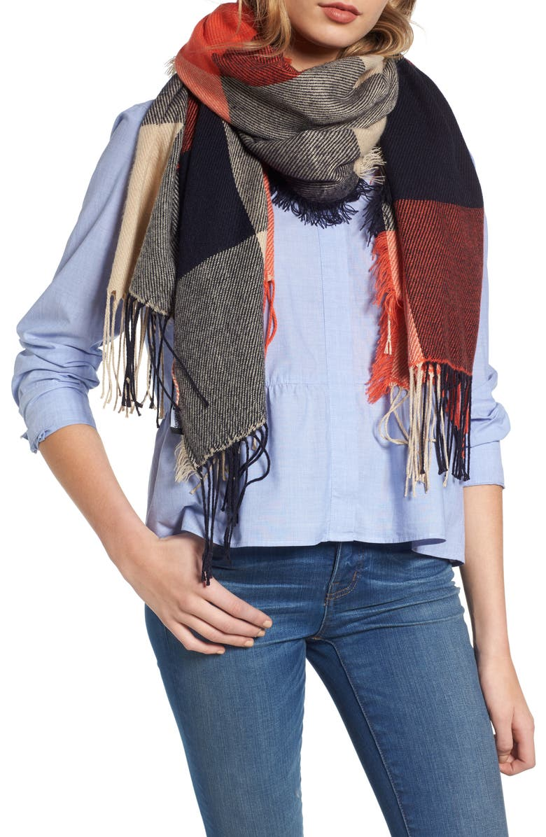MADEWELL Checkmate Fringe Scarf, Main, color, 800