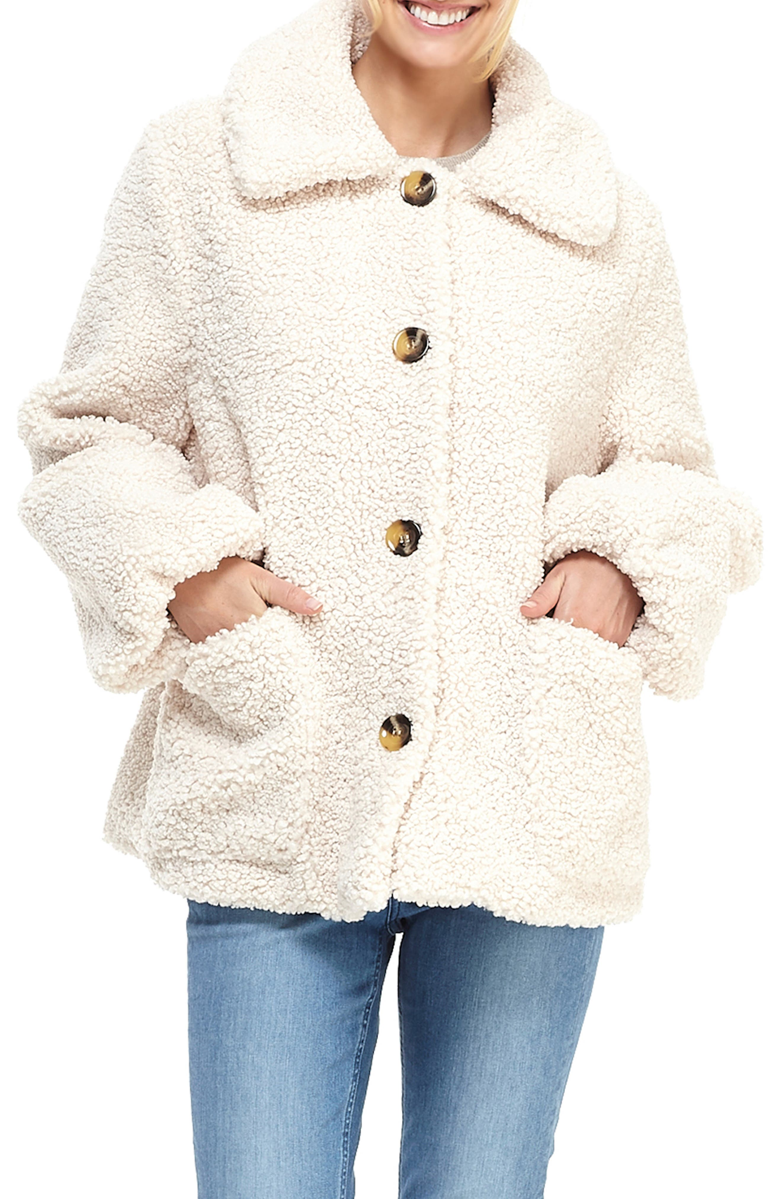 70s Jackets & Hippie Vests, Ponchos Womens Gal Meets Glam Collection Willa Teddy Bear Coat Size - Nordstrom Exclusive $190.00 AT vintagedancer.com