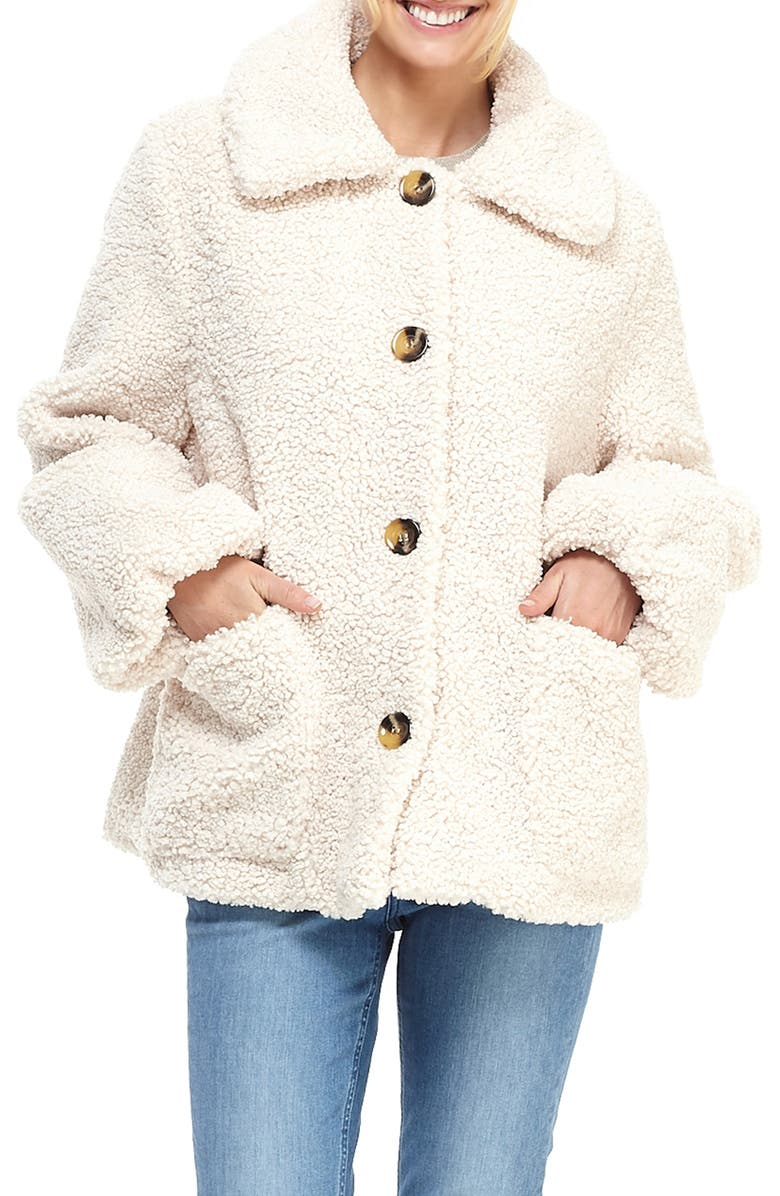 GAL MEETS GLAM COLLECTION Willa Teddy Bear Coat, Main, color, IVORY