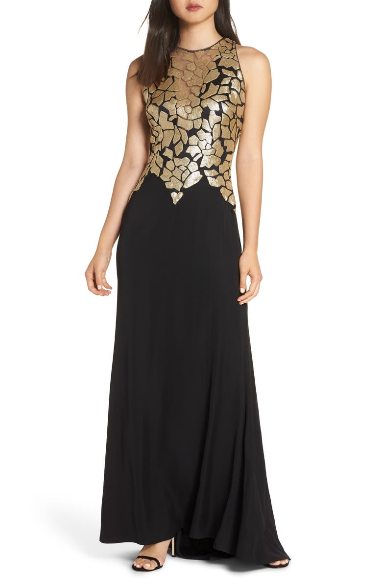 TADASHI SHOJI Sleeveless Sequin & Crepe Gown, Main, color, BLACK/ GOLD