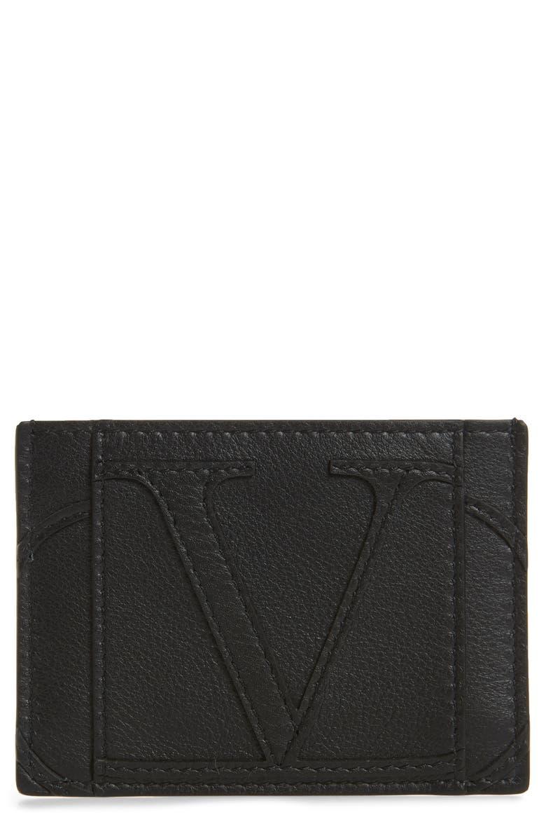VALENTINO V-Logo Leather Card Case, Main, color, BLACK