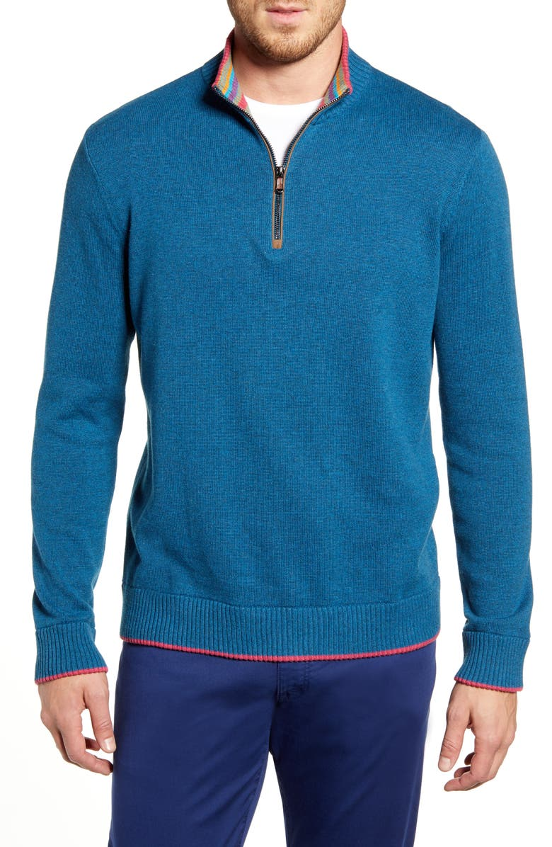 ROBERT GRAHAM Regular Fit Quarter Zip Pullover, Main, color, TEAL