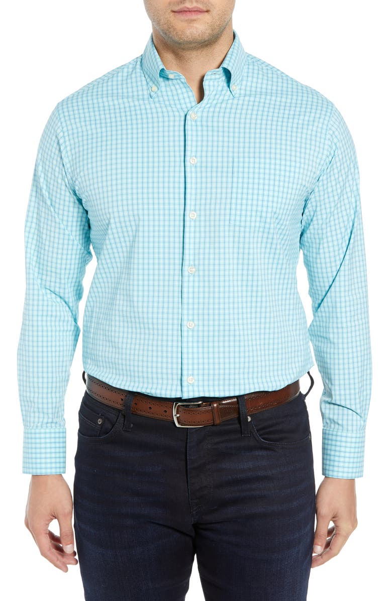 PETER MILLAR Triton Glen Plaid Sport Shirt, Main, color, 455