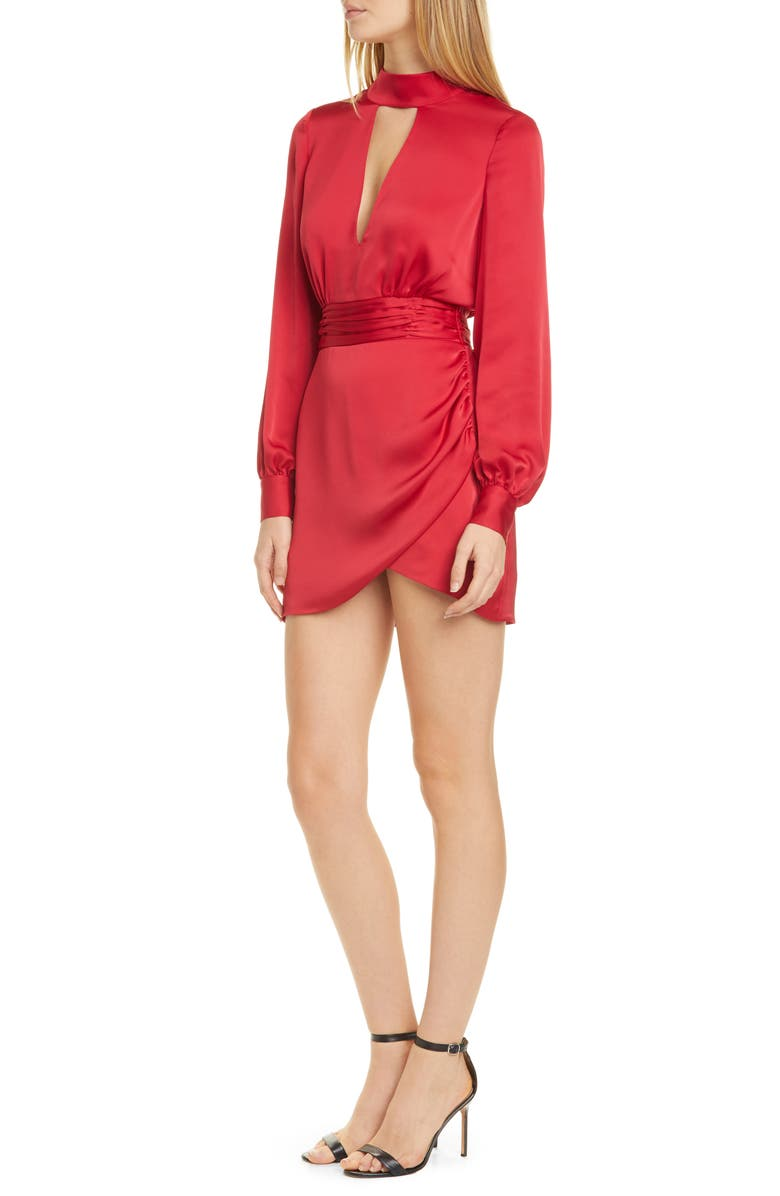 RAMY BROOK Angela Plunge Neck Long Sleeve Minidress, Main, color, TRUE RED