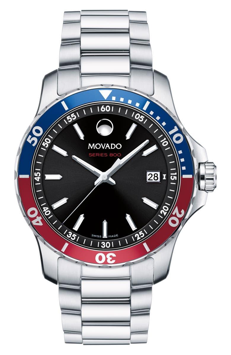 MOVADO Series 800 Bracelet Watch, 40mm, Main, color, SILVER/ BLACK/ SILVER