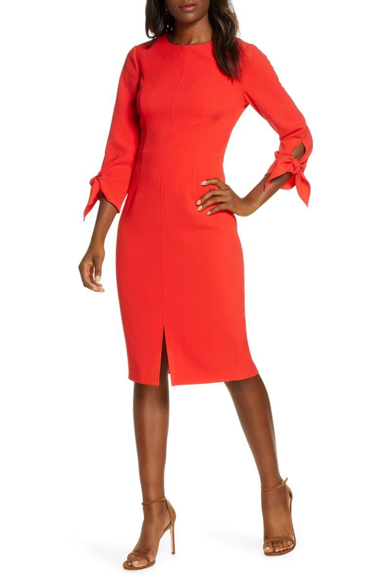 HARPER ROSE Tie Sleeve Sheath Dress, Main, color, RED