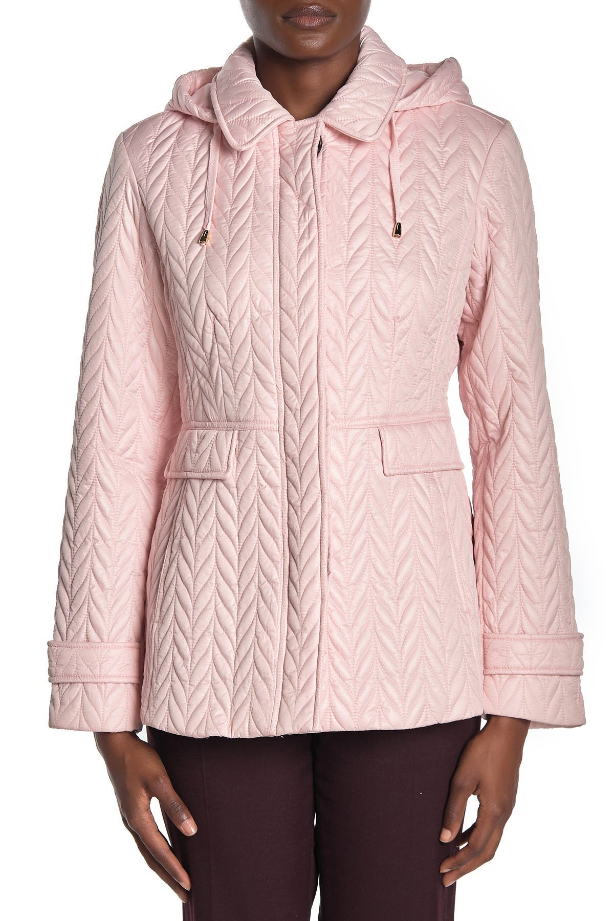 Image of kate spade new york water-resistant hooded button quilted moto jacket