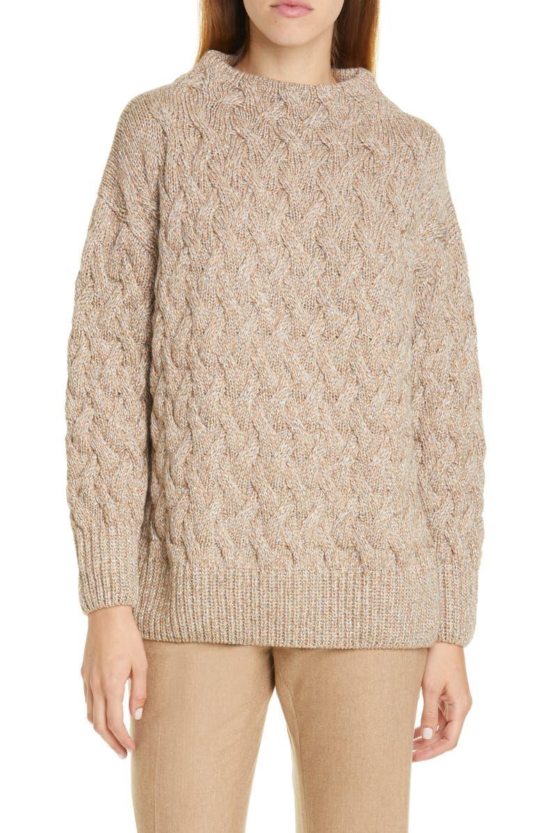 LAFAYETTE 148 NEW YORK Sequin Cable Cashmere Blend Sweater, Main, color, CAMMELLO MULTI