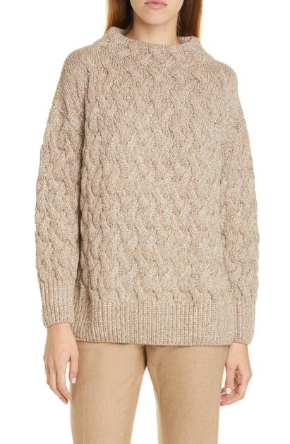 Lafayette 148 Sweaters SEQUIN CABLE CASHMERE BLEND SWEATER