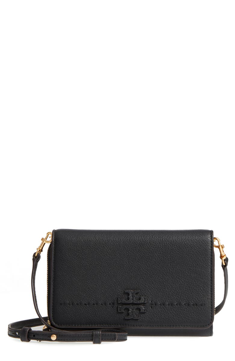 TORY BURCH McGraw Leather Crossbody Wallet, Main, color, BLACK
