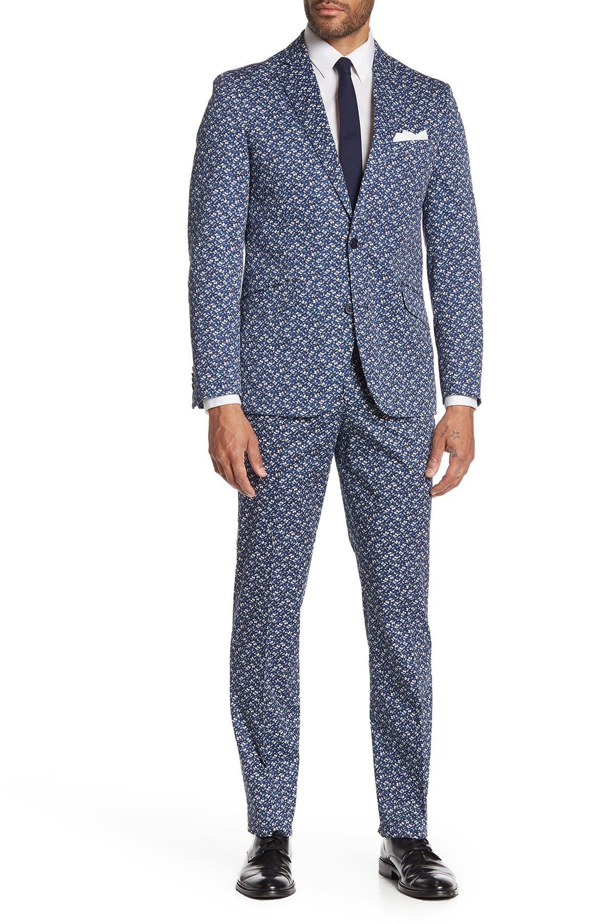 Image of SAVILE ROW CO Hoxton Navy Blue Floral Two Button Notch Lapel Slim Fit Suit