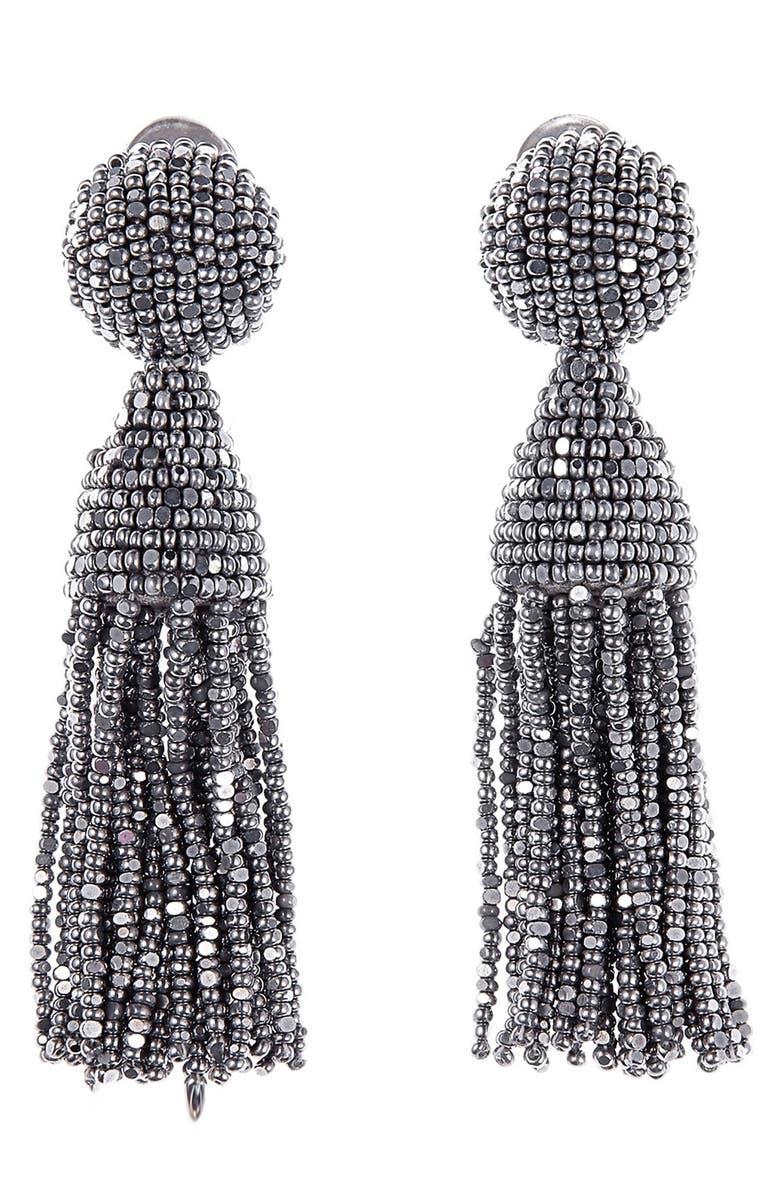 OSCAR DE LA RENTA Classic Short Tassel Drop Clip Earrings, Main, color, SILVER