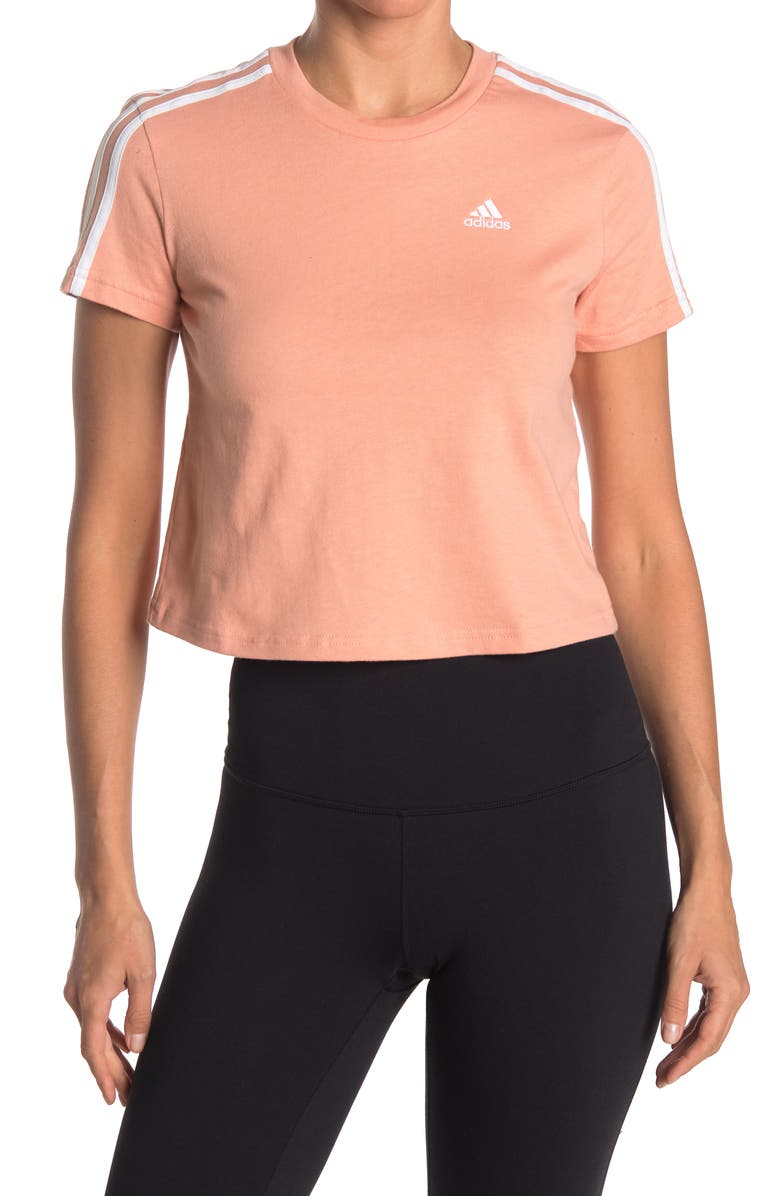ADIDAS Striped Crop Tee, Main, color, AMBIENT BLUSH/WHITE