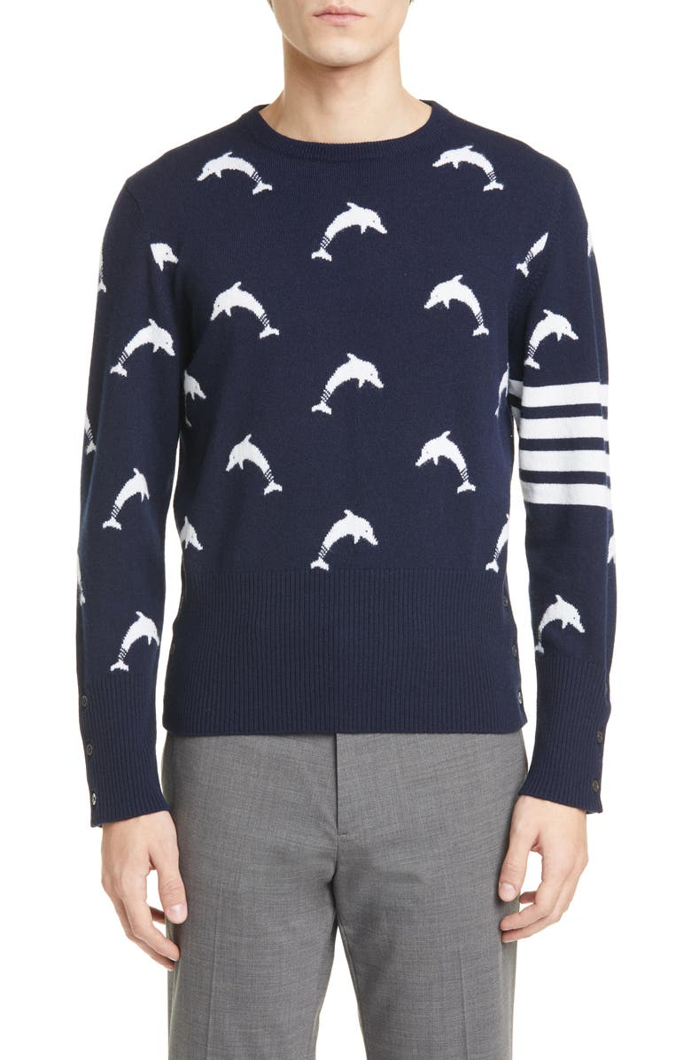 THOM BROWNE Dolphin Cashmere Sweater, Main, color, NAVY