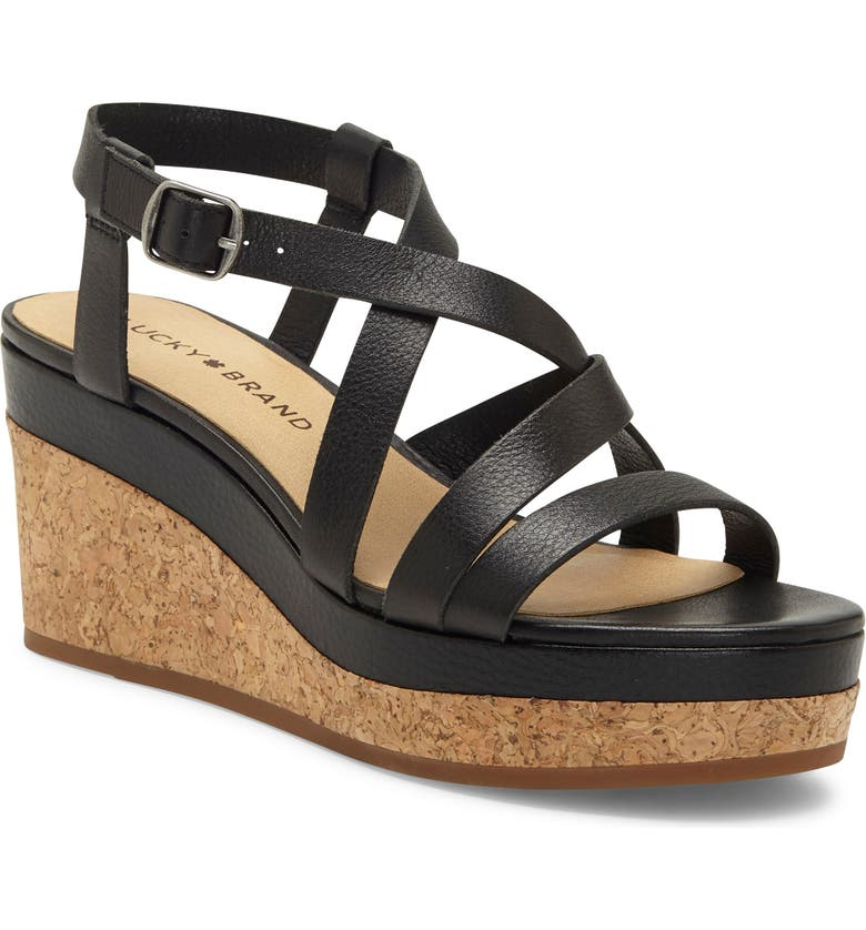 LUCKY BRAND Batikah Strappy Wedge Sandal, Main, color, BLACK LEATHER