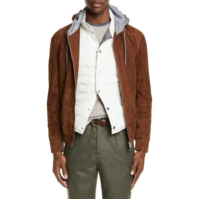 Brunello Cucinelli Suede Hooded Jacket, Brown