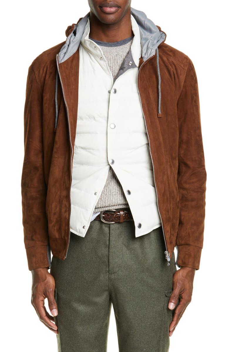 BRUNELLO CUCINELLI Suede Hooded Jacket, Main, color, BROWN