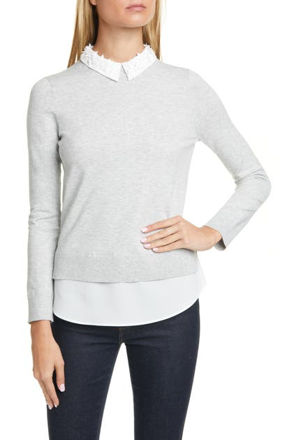 Ted Baker Sweaters ZOILAA EMBELLISHED COLLAR COTTON & SILK BLEND LAYERED SWEATER